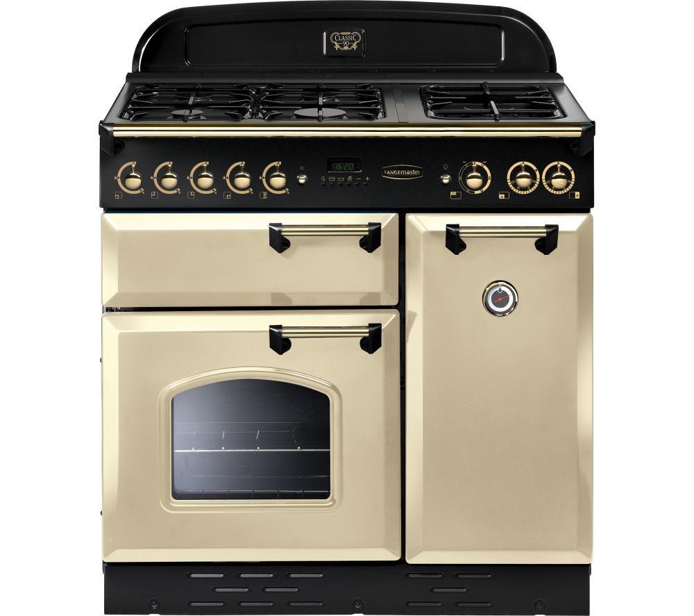 RANGEMASTER Classic 90 Gas Range Cooker - Cream & Brass