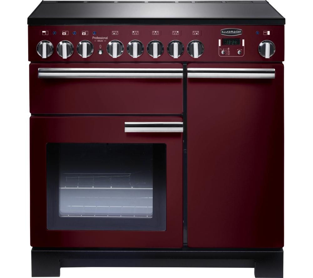 RANGEMASTER  Professional Deluxe 90 Electric Induction Range Cooker  Cranberry & Chrome Cranberry