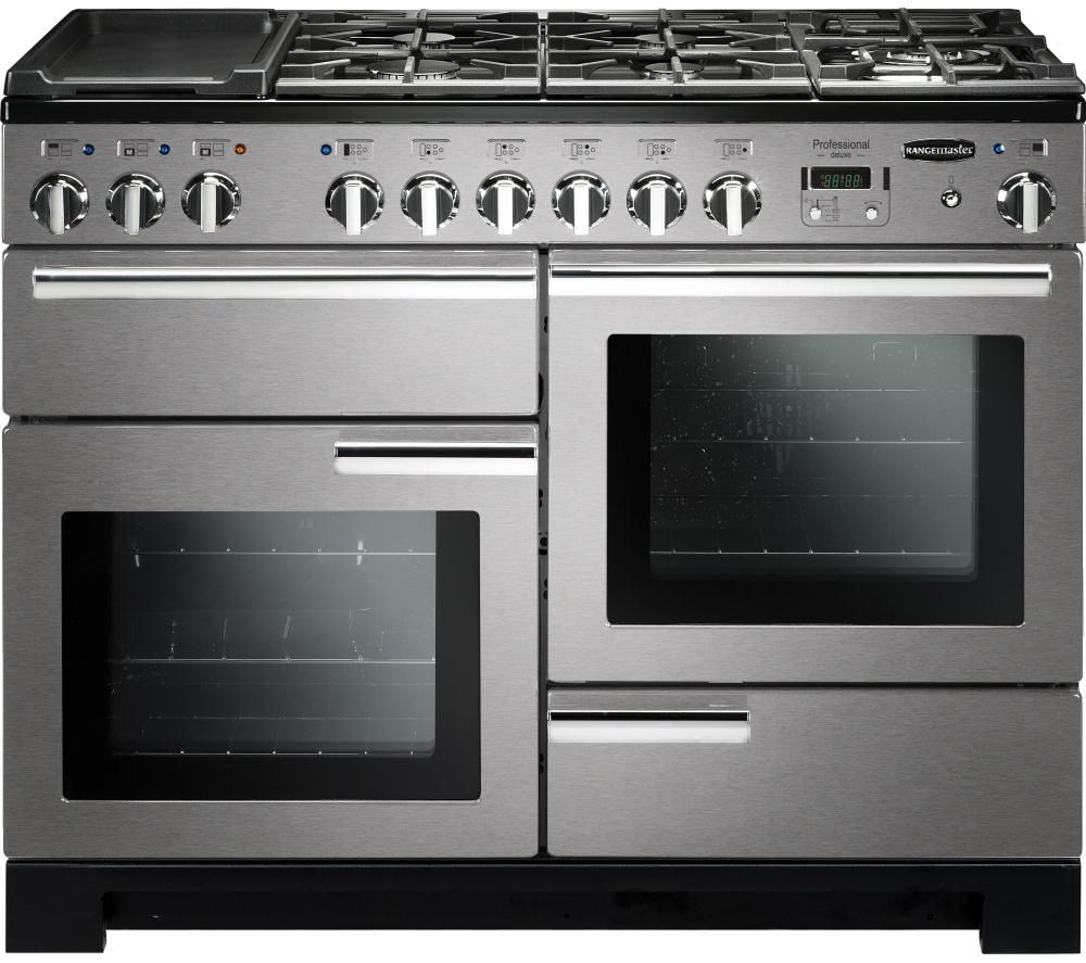 RANGEMASTER Professional Deluxe 110 Dual Fuel Range Cooker - Stainless Steel & Chrome