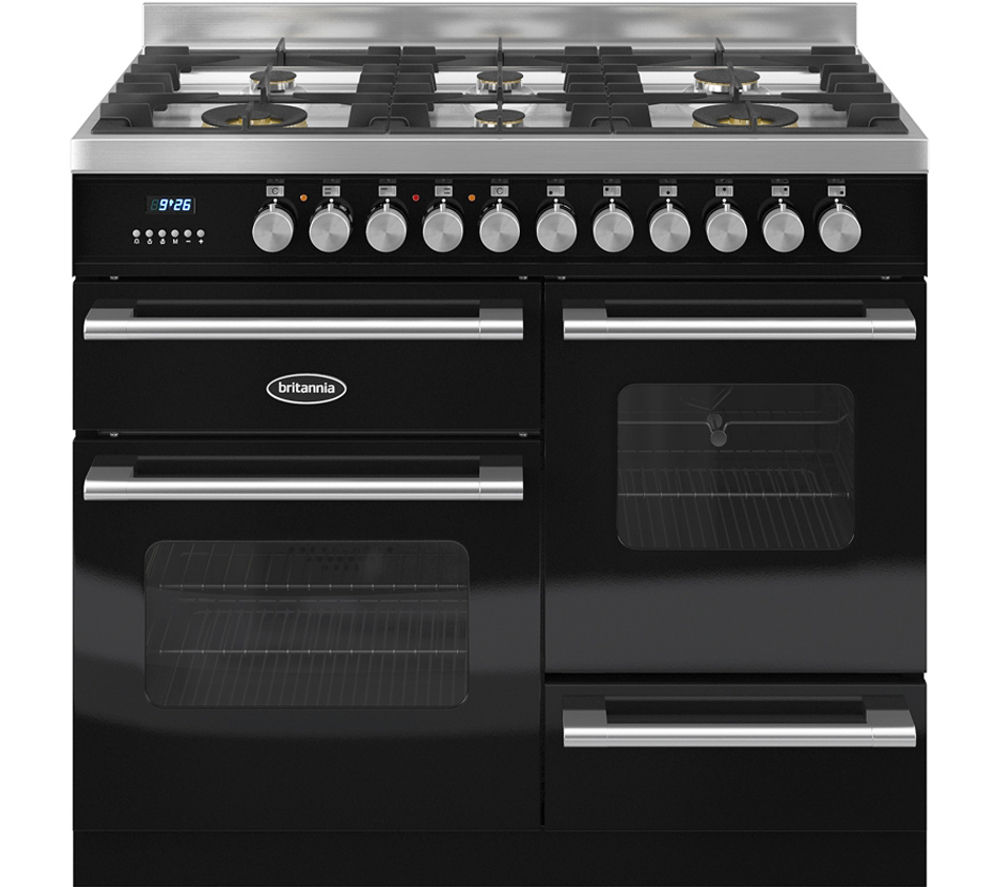 BRITANNIA Delphi 100 XG Dual Fuel Range Cooker - Gloss Black & Stainless Steel