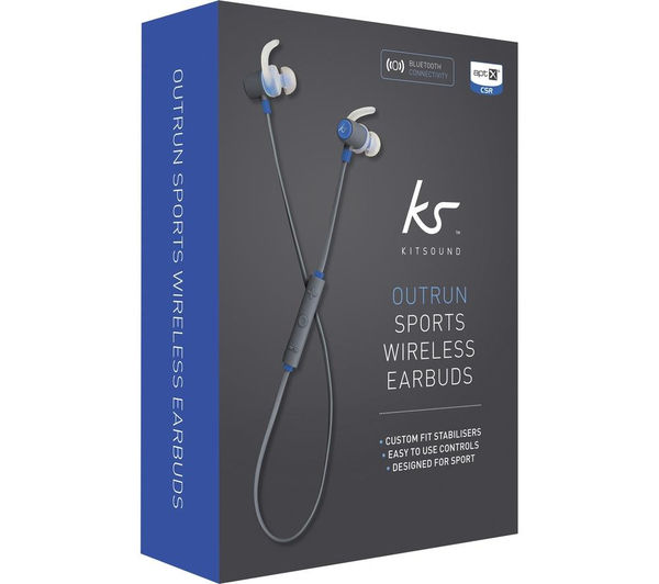 Outrun Sports Bluetooth Wireless Earbuds: Buy KITSOUND Outrun Wireless Bluetooth Headphones - Blue