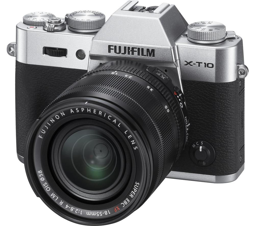 FUJIFILM X-T10 Compact System Camera with XF 18-55 mm f/2.8-4.0 LM OIS Zoom Lens - Silver