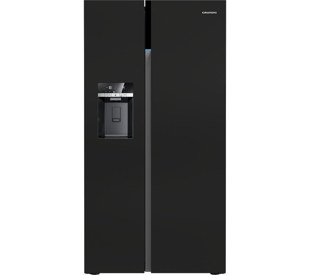 Image of GRUNDIG GSBS16312B American-Style Fridge Freezer - Black, Black