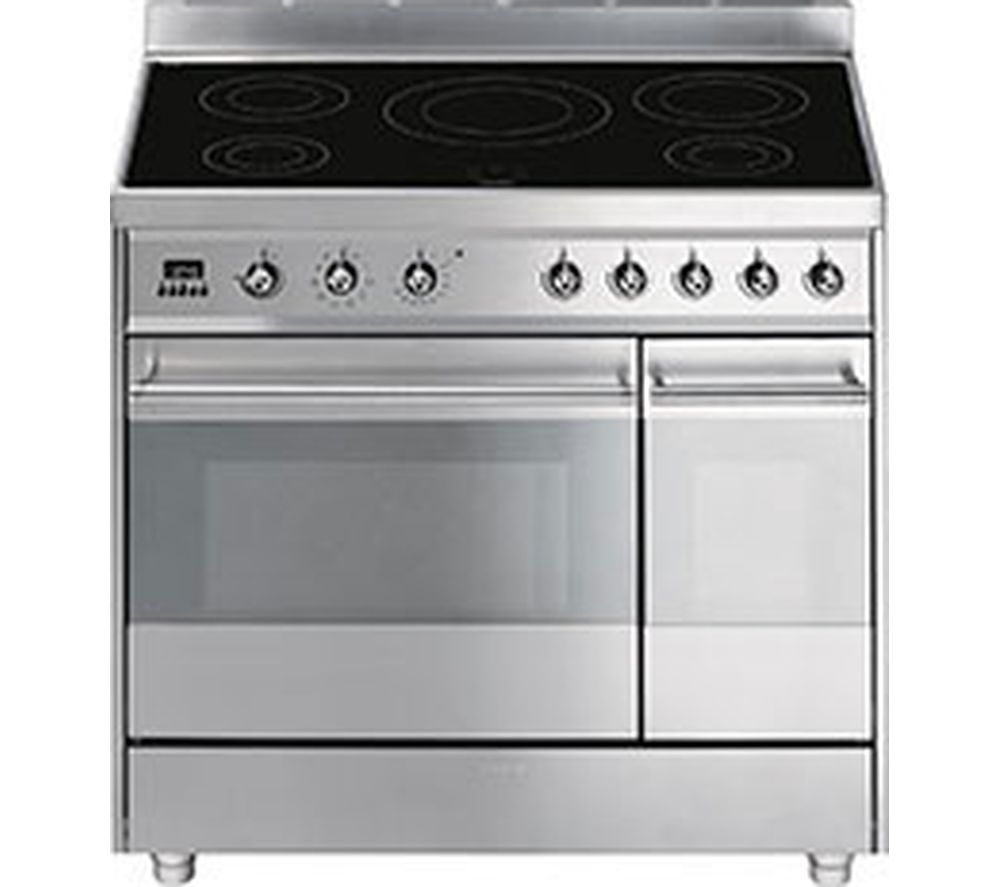SMEG Symphony 90 cm Electric Induction Range Cooker  Stainless Steel Stainless Steel