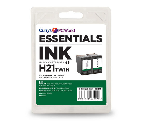 ESSENTIALS H21 Black HP Ink Cartridge - Twin Pack