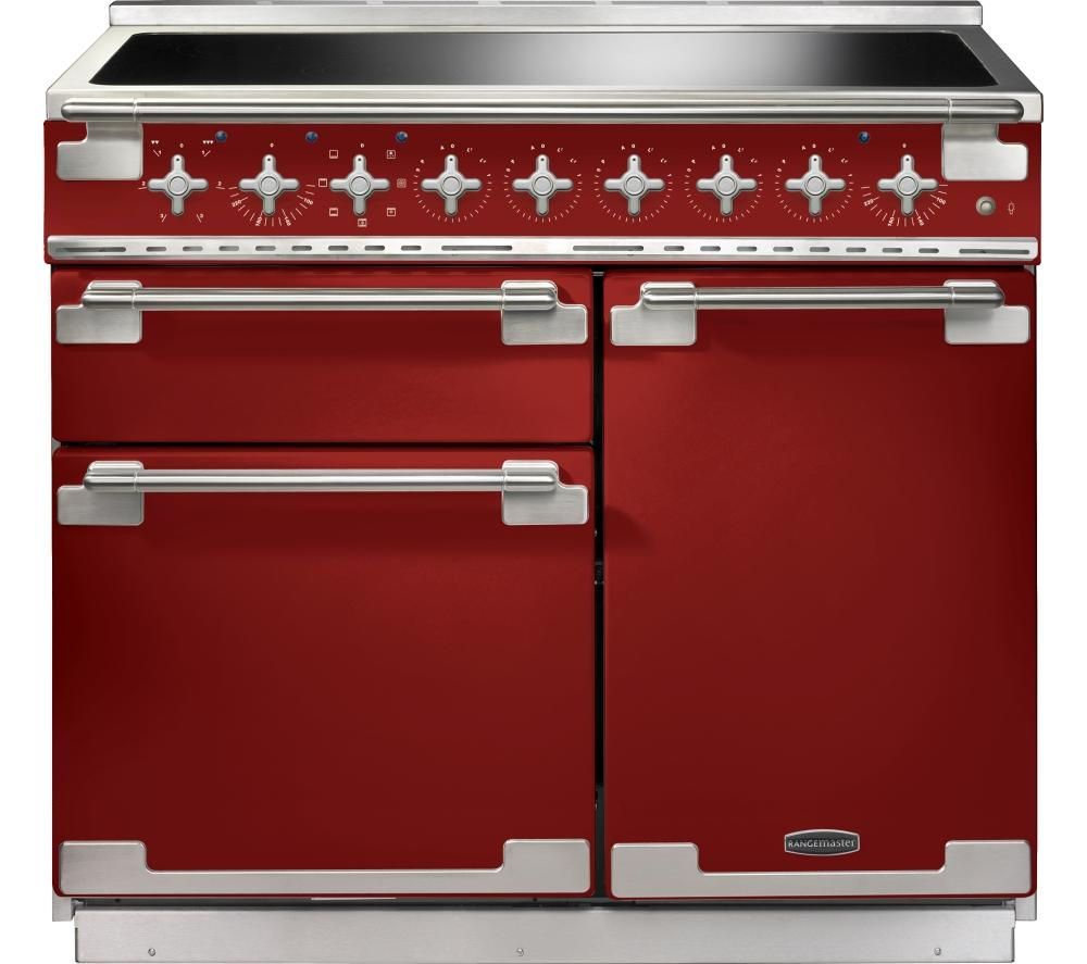 RANGEMASTER  Elise 100 Electric Induction Range Cooker  Red & Chrome Red
