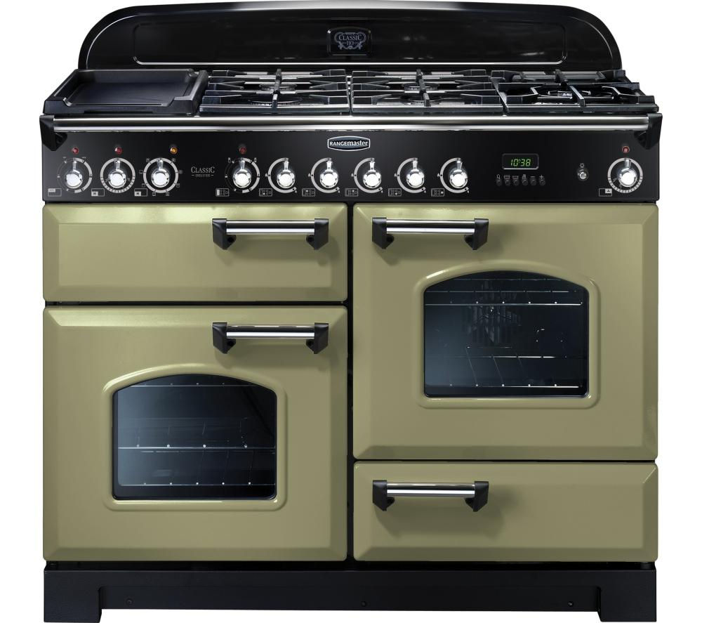 Rangemaster Classic Deluxe 110 Dual Fuel Range Cooker  Olive Green & Chrome Olive