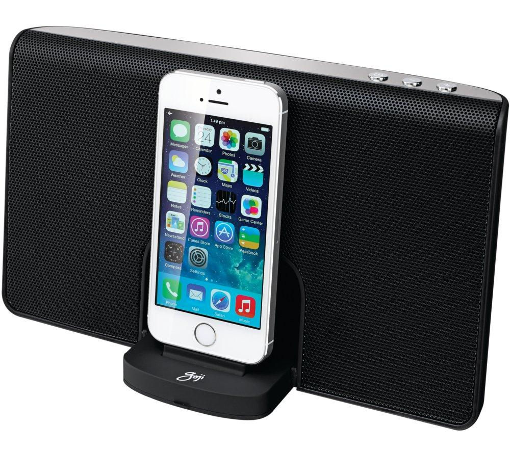 Image of GOJI GRLIB14 Portable Speaker Dock - with Apple Lightning Connector, Black