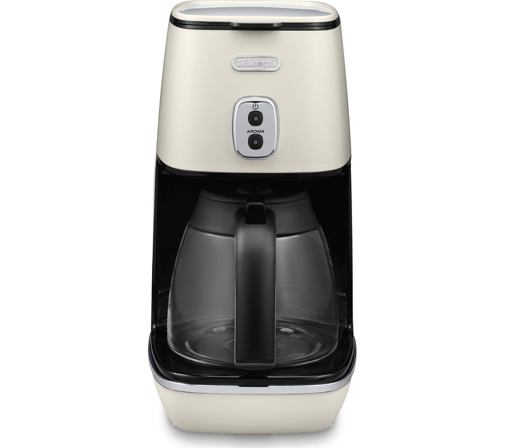 DELONGHI  Distinta ICMI211.W Filter Coffee Machine – White +  Distinta CTI4003.W 4-Slice Toaster - White
