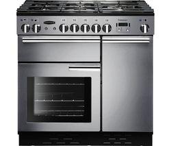 RANGEMASTER Professional+ 90 Gas Range Cooker - Stainless Steel & Chrome