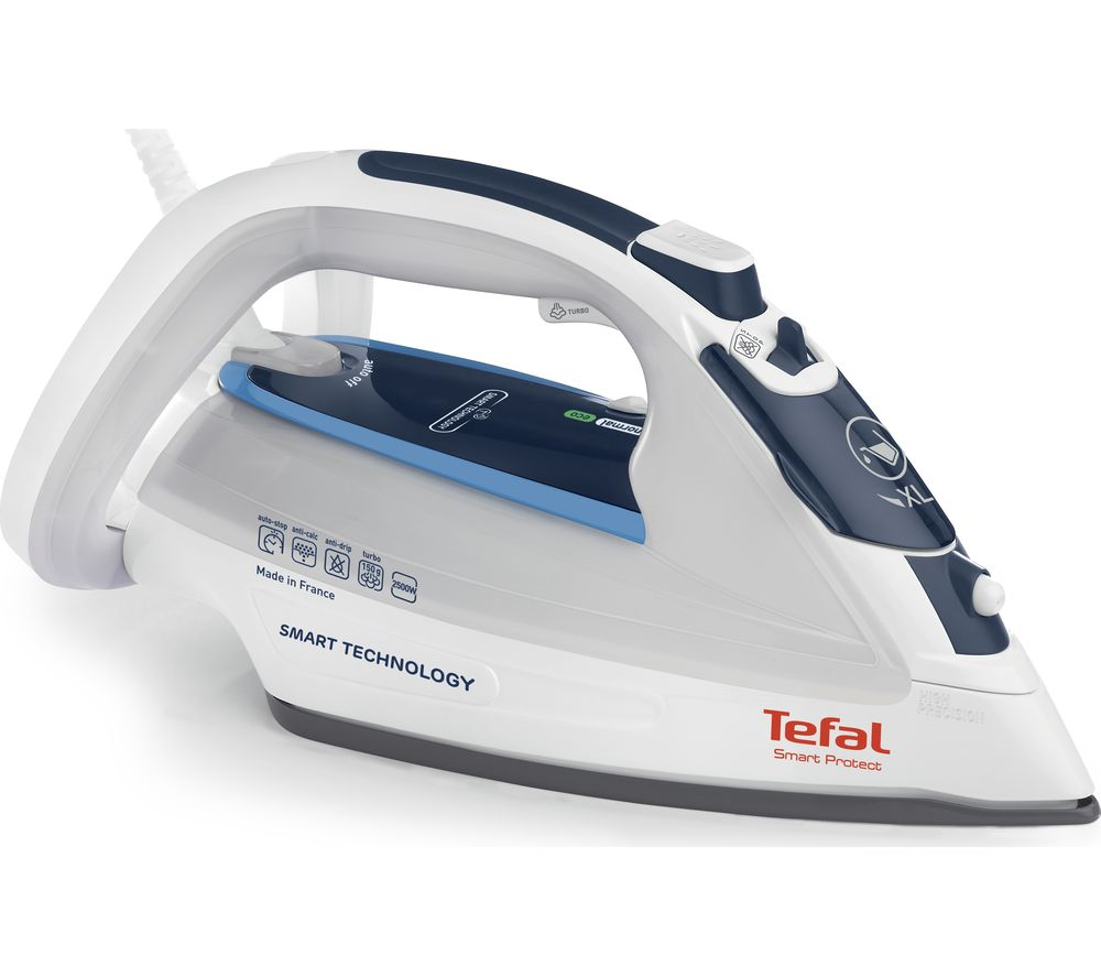 TEFAL Smart Protect FV4970 Steam Iron - White & Blue