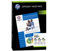 HP 933XL Cyan, Magenta & Yellow Ink Cartridges with Photo Paper - Value Pack