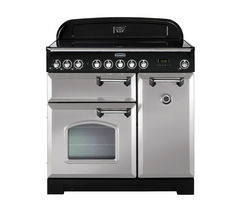 RANGEMASTER Classic Deluxe 90 Electric Ceramic Range Cooker - Royal Pearl & Chrome