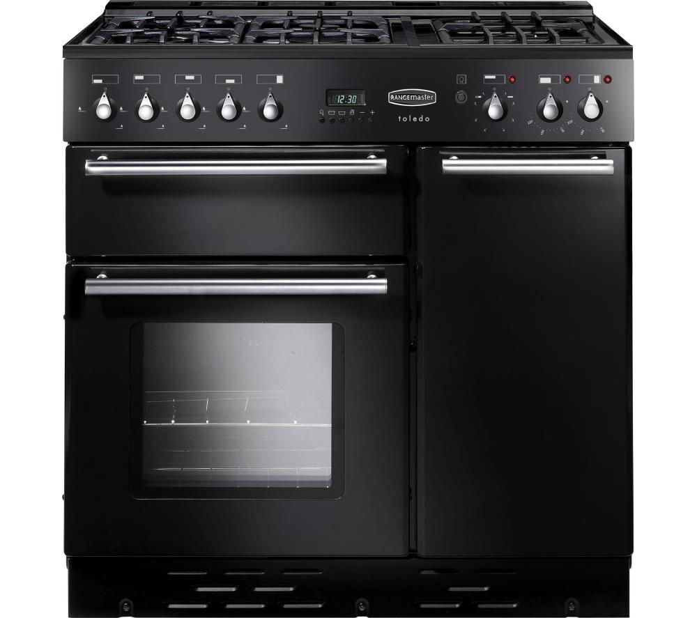 RANGEMASTER  Toledo 90 Dual Fuel Range Cooker  Black & Satin Black
