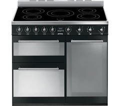 SMEG Symphony 90 cm Electric Induction Range Cooker - Black & Stainless Steel