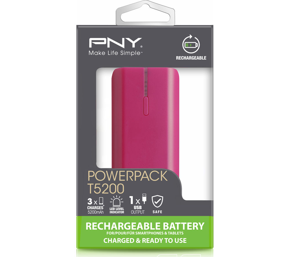 PNY T5200 Portable Power Bank - Pink
