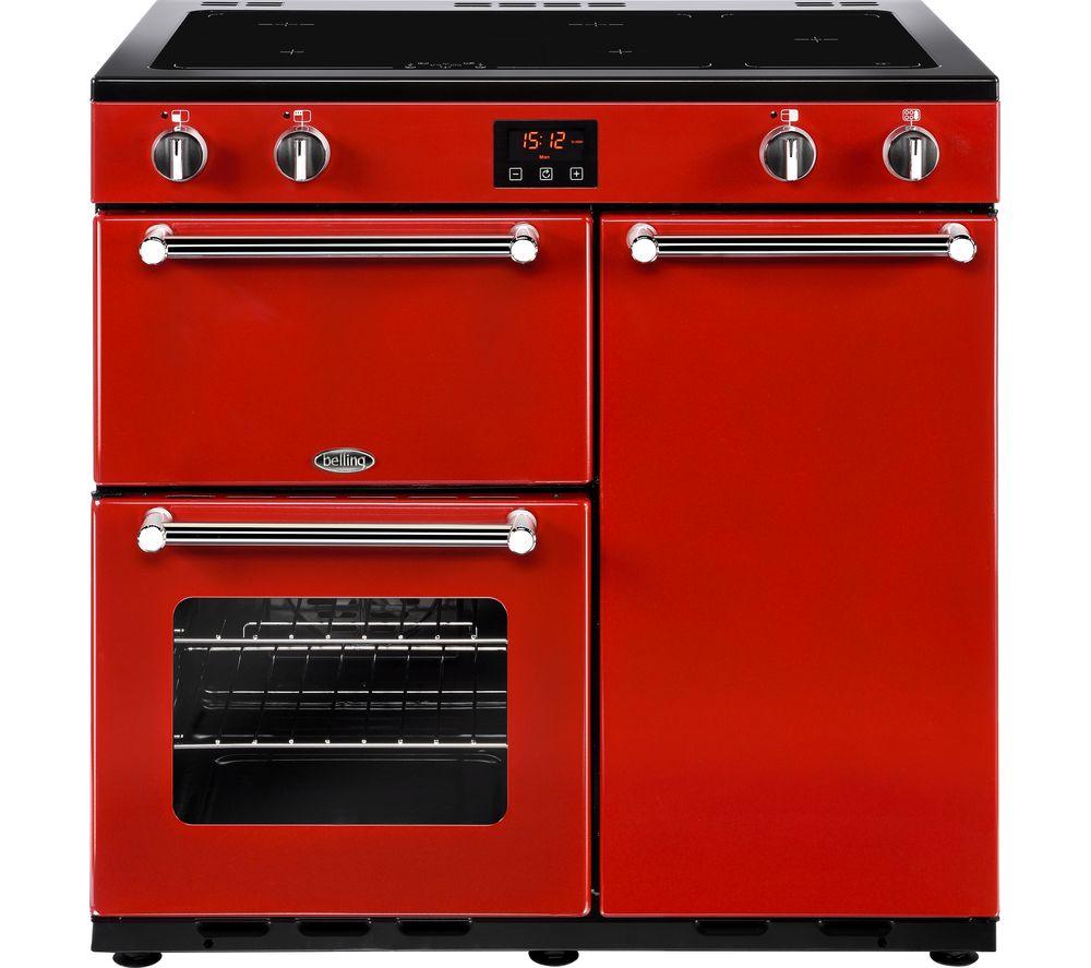 BELLING Kensington 90 cm Electric Induction Range Cooker - Red & Chrome