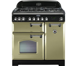 RANGEMASTER Classic Deluxe 90 Dual Fuel Range Cooker - Olive Green & Chrome