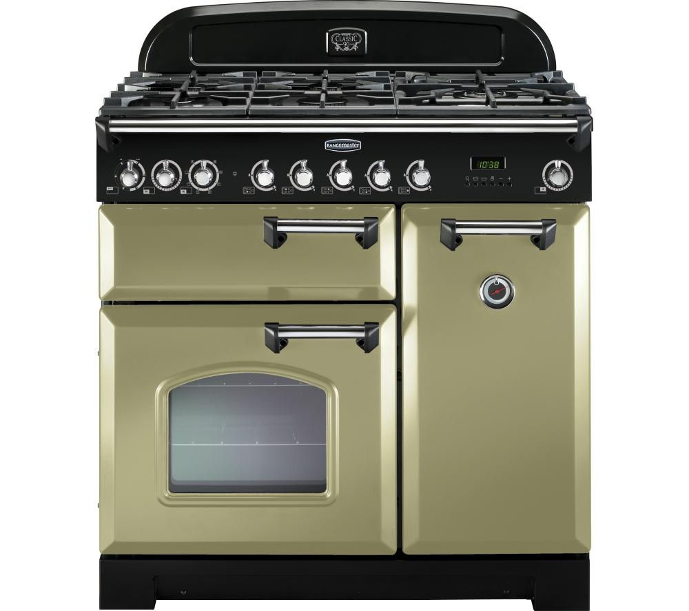 RANGEMASTER  Classic Deluxe 90 Dual Fuel Range Cooker  Olive Green & Chrome Olive