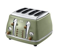DELONGHI Icona Vintage CTOV4003GR 4-Slice Toaster - Olive Green