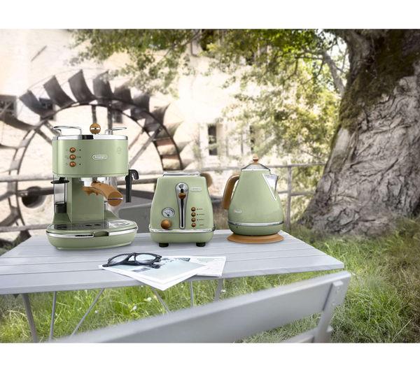 Buy delonghi icona vintage ctov4003gr 4 slice toaster for Olive green kitchen accessories