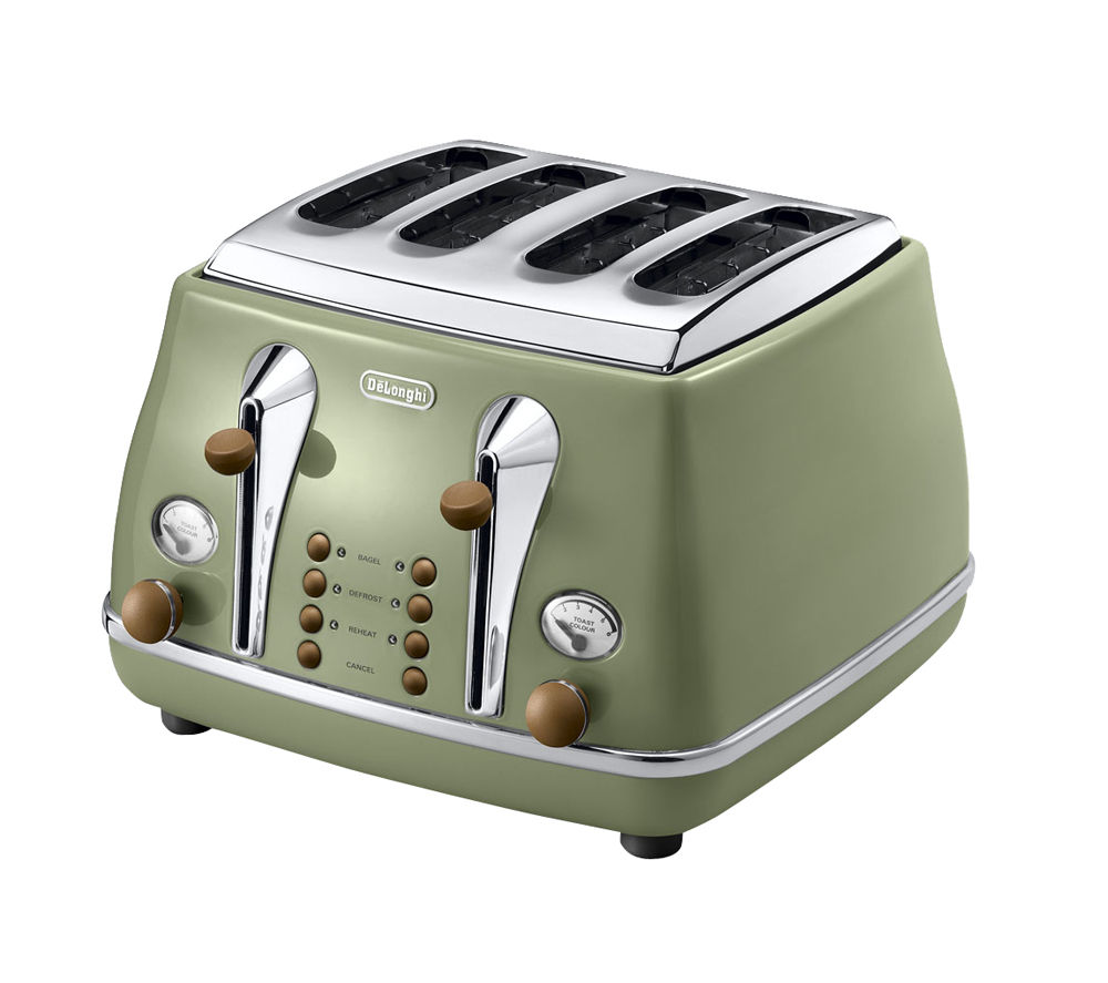 buy delonghi icona vintage ctov4003gr 4 slice toaster olive green free delivery currys. Black Bedroom Furniture Sets. Home Design Ideas
