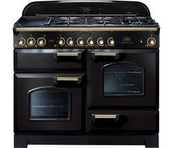 RANGEMASTER Classic Deluxe 110 Dual Fuel Range Cooker - Black & Brass