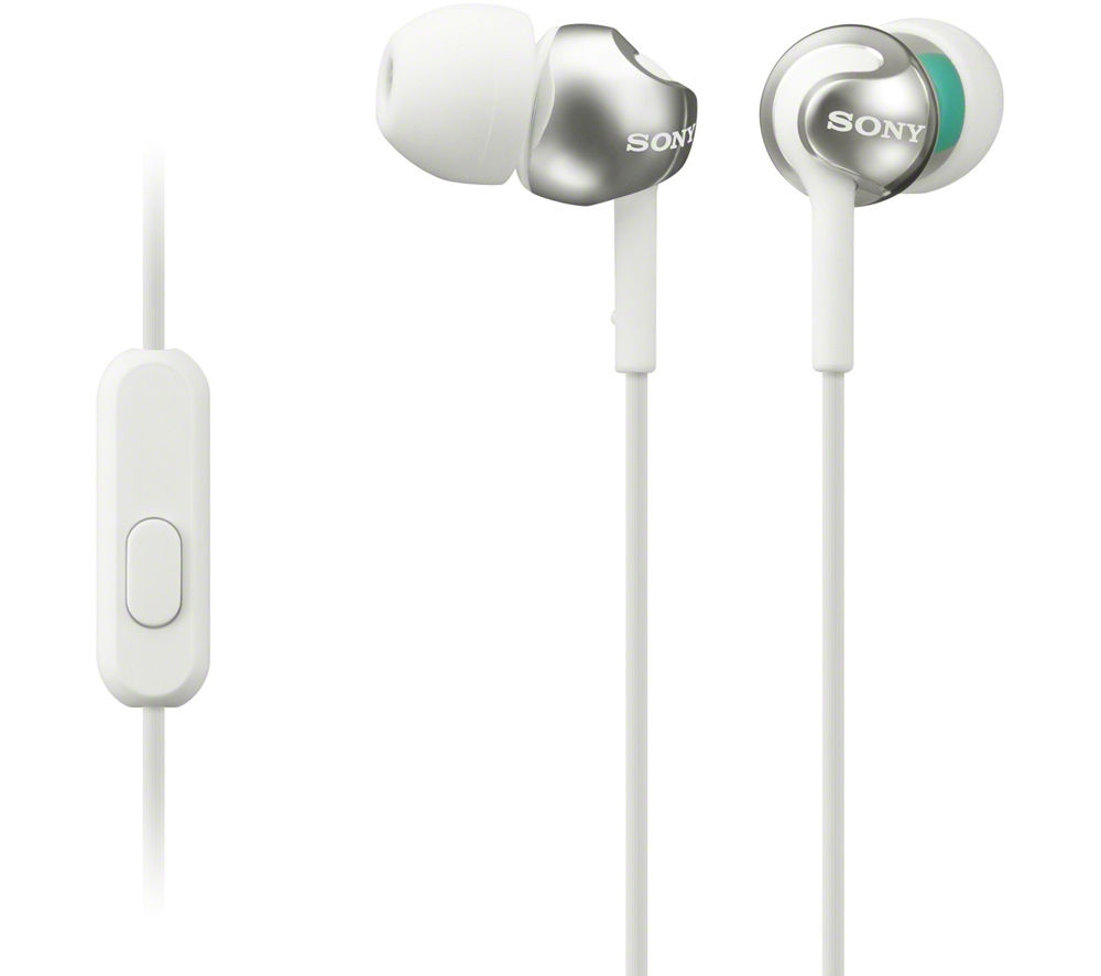 SONY MDR-EX110APW Headphones - White + iPhone 7 Lightning to 3.5 mm Headphone Jack Adapter