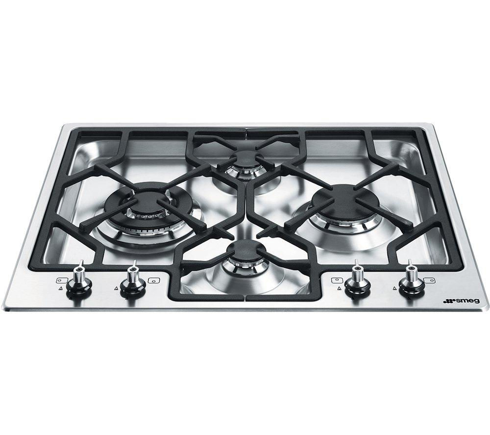 Image of Smeg Classic PGF64-4 Gas Hob - Stainless Steel, Stainless Steel