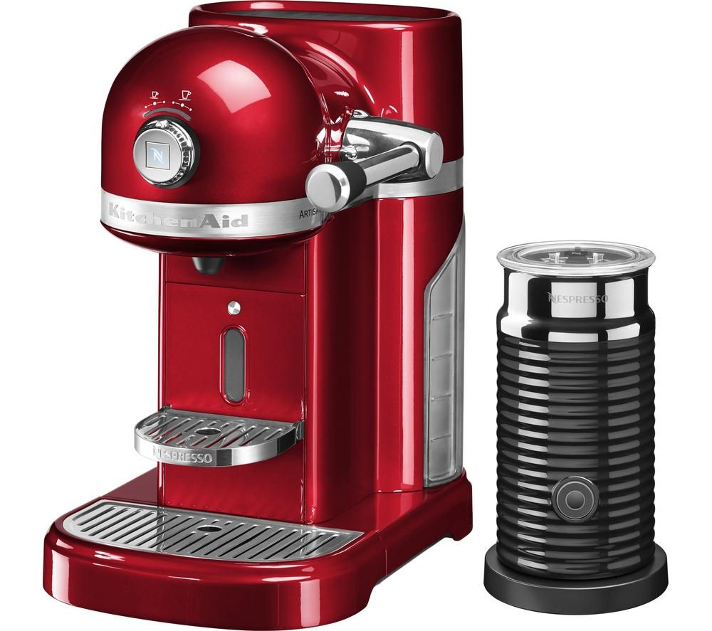 NESPRESSO  Artisan Nespresso Hot Drinks Machine with Aeroccino 3  Candy Apple