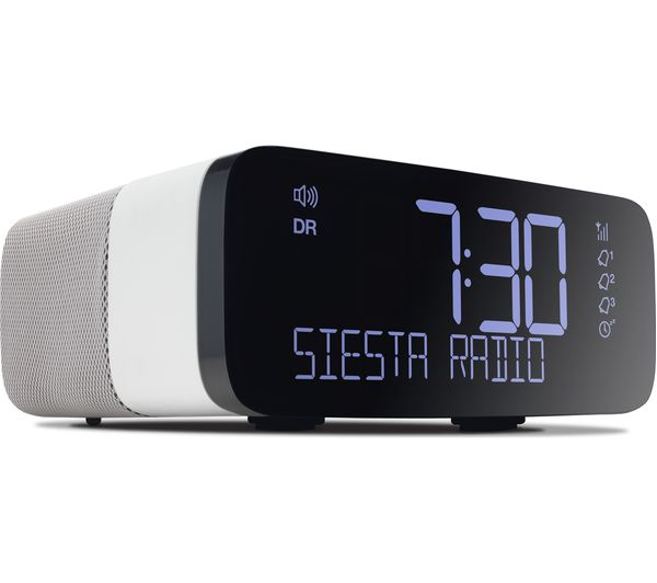 buy pure siesta rise dab fm clock radio white grey. Black Bedroom Furniture Sets. Home Design Ideas