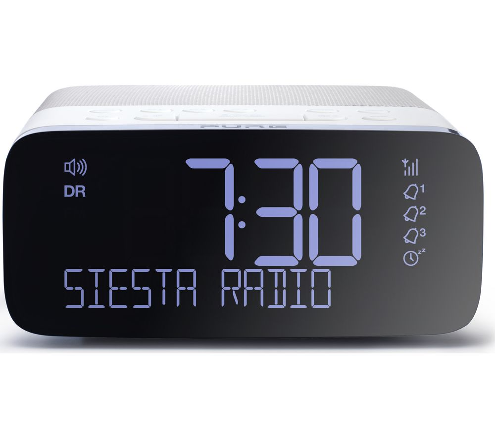 pure siesta rise dab fm clock radio white grey deals. Black Bedroom Furniture Sets. Home Design Ideas
