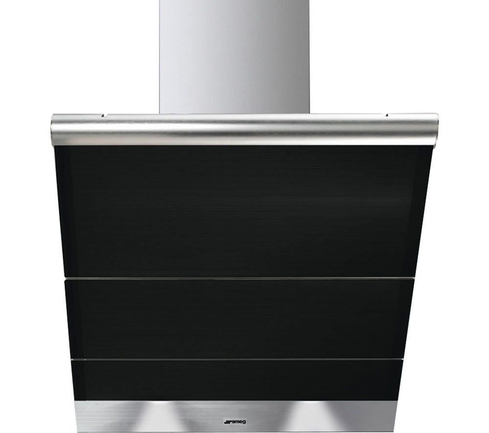 SMEG Linea KTS75NCE Chimney Cooker Hood - Stainless Steel & Black Glass