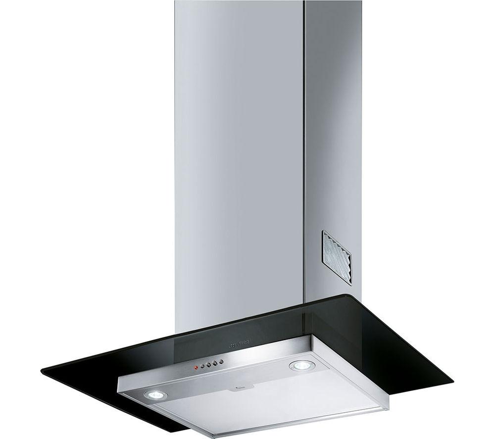 SMEG  KFV62DNE Chimney Cooker Hood  Stainless Steel & Black Glass Stainless Steel