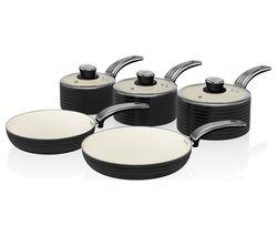 SWAN Retro SWPS5020BN 5-piece Non-Stick Pan Set - Black