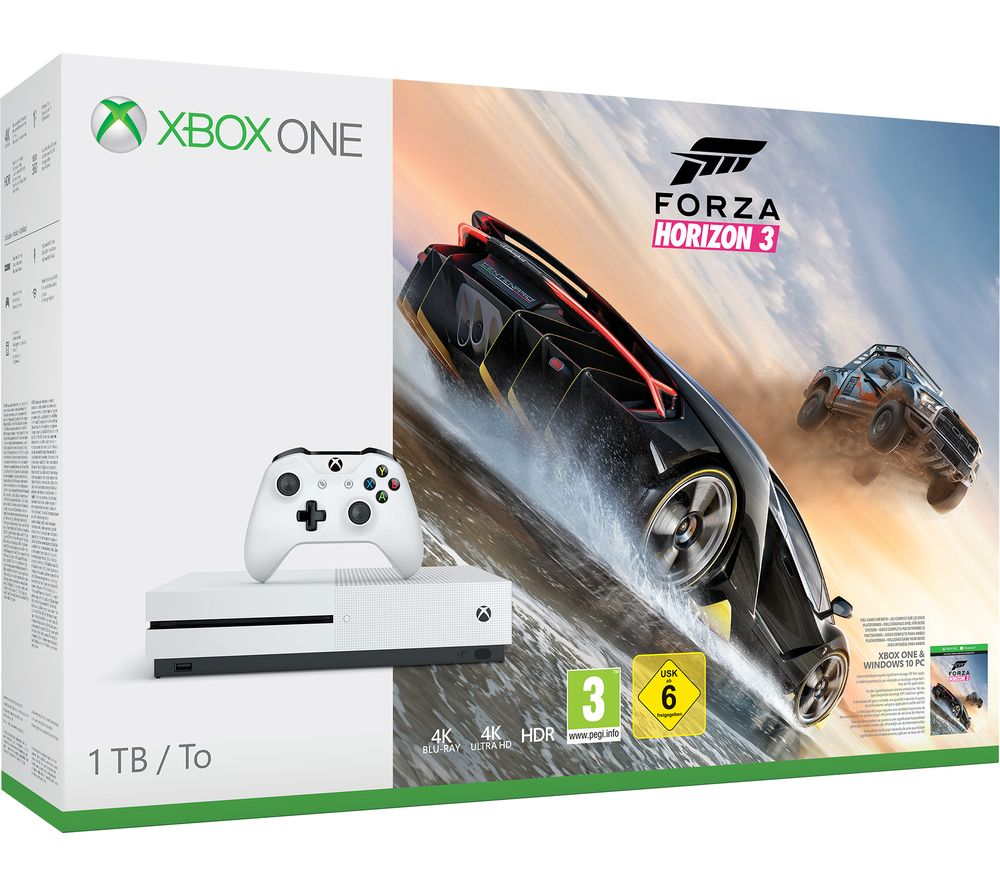 microsoft xbox one s with forza horizon 3 deals pc world. Black Bedroom Furniture Sets. Home Design Ideas
