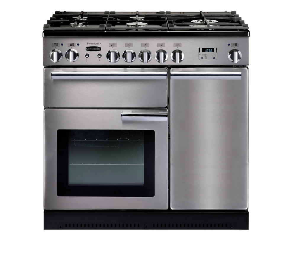 RANGEMASTER Professional+ 90 Dual Fuel Range Cooker - Stainless Steel & Chrome