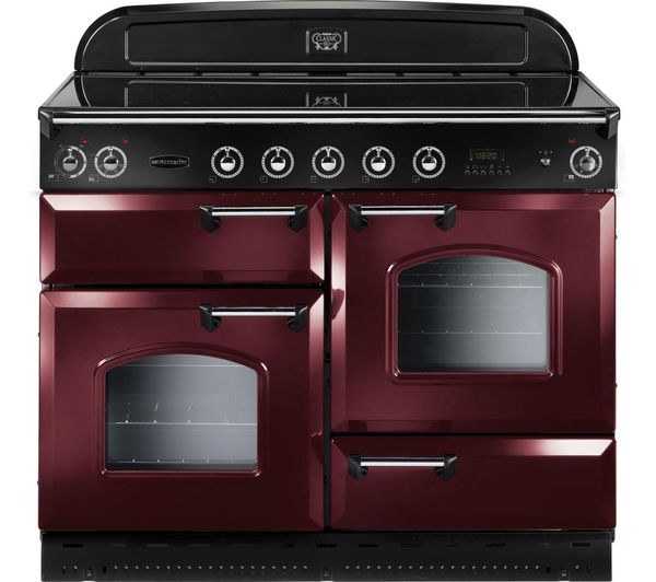 Rangemaster Classic 110 Electric Induction Range Cooker  Cranberry & Chrome Cranberry