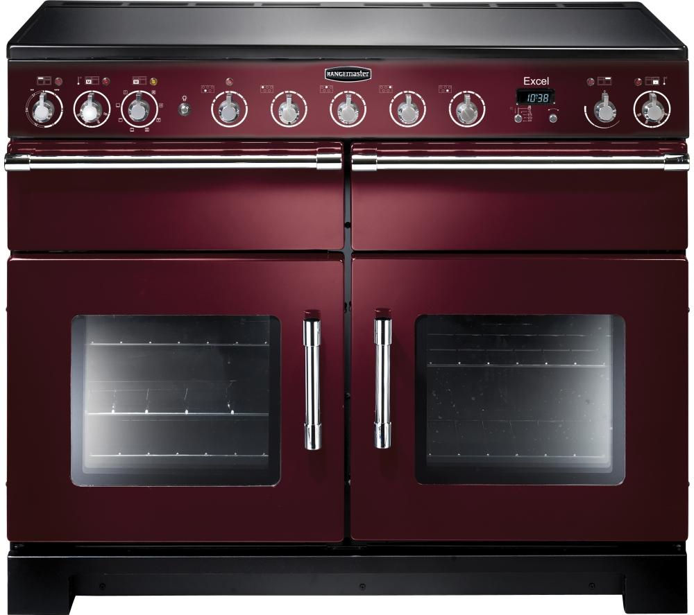 RANGEMASTER Excel 110 Electric Induction Range Cooker - Cranberry & Chrome