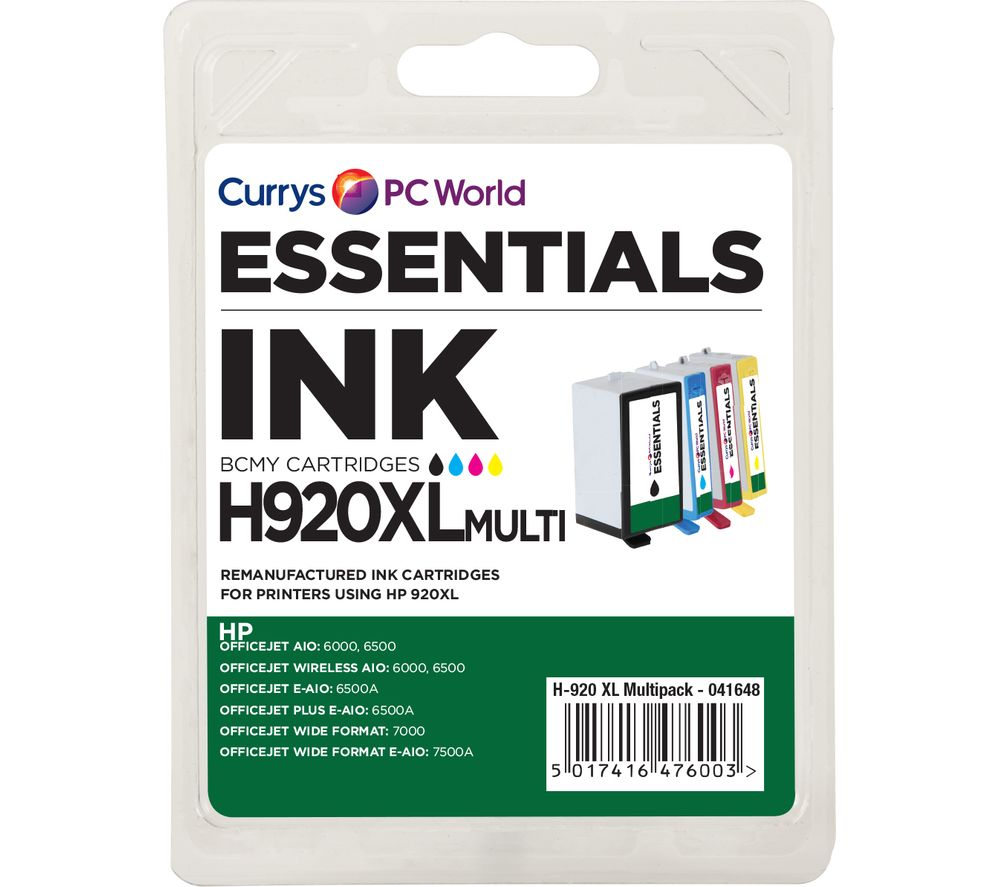 ESSENTIALS  920 XL Cyan, Magenta, Yellow & Black HP Ink Cartridges - Multipack, Cyan