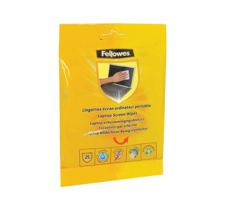 FELLOWES Laptop Screen Cleaning Wipes - 25 pack