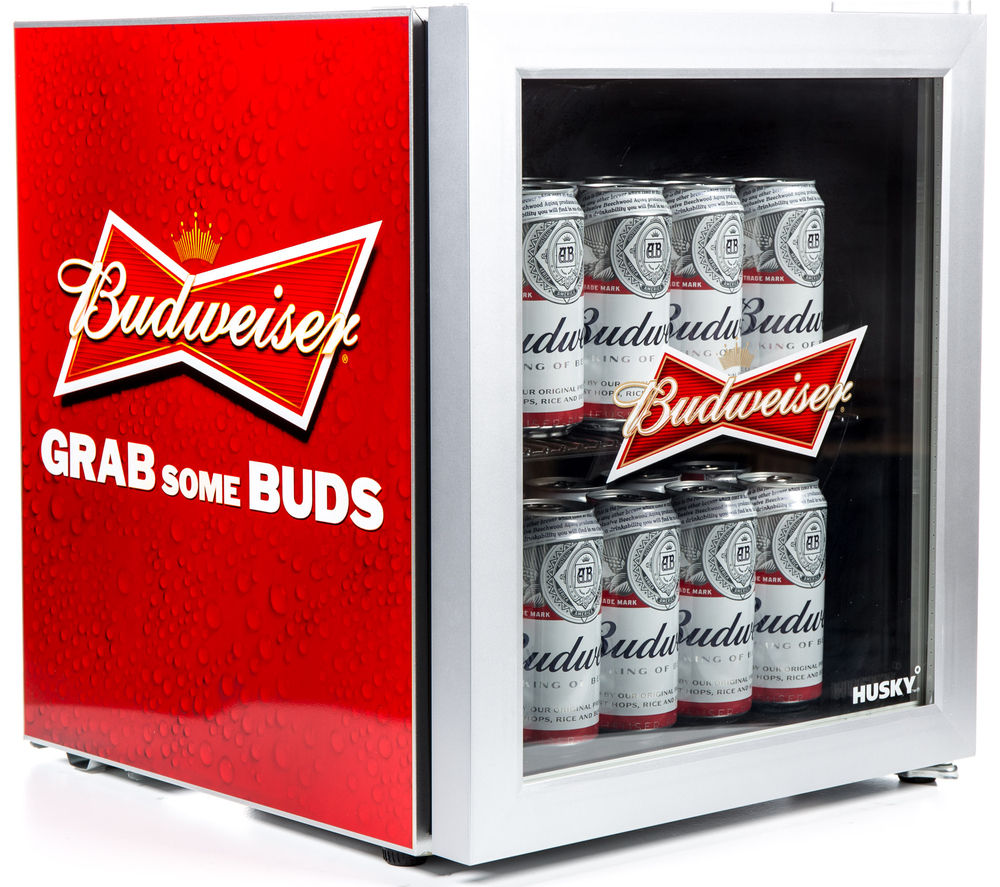 HUSKY  EL202 Budweiser Drinks Cooler - Red +  WM62125W Washing Machine - White