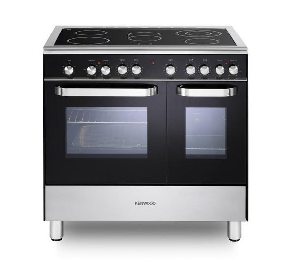 KENWOOD  CK408/1 Electric Ceramic Range Cooker - Black +  S90SPGB13 Glass Splashback