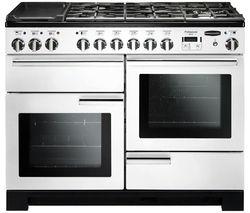 RANGEMASTER Professional Deluxe 110 Dual Fuel Range Cooker - White & Chrome