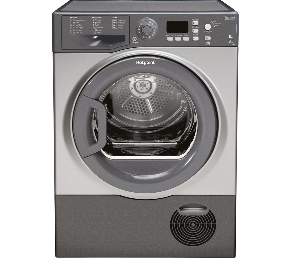 HOTPOINT Aquarius FTCF87BGG Condenser Tumble Dryer - Graphite + SISML21011P Slimline Dishwasher - White