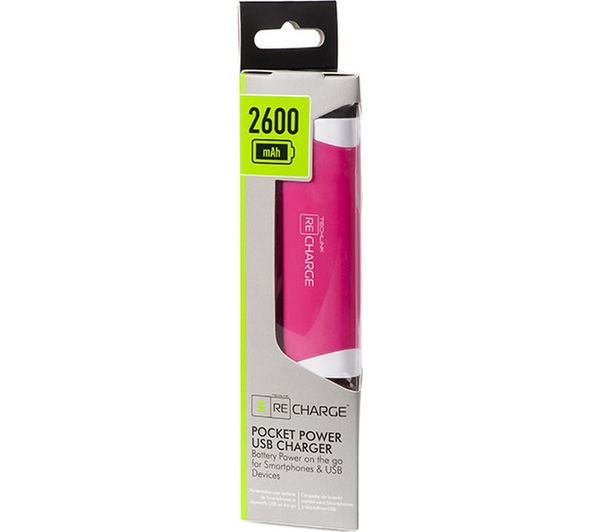 Buy Techlink Recharge 2600 Portable Power Bank Pink