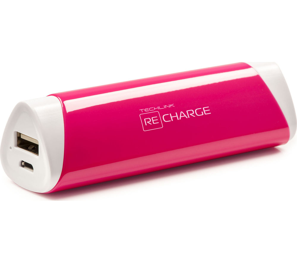 TECHLINK Recharge 2600 Portable Power Bank - Pink