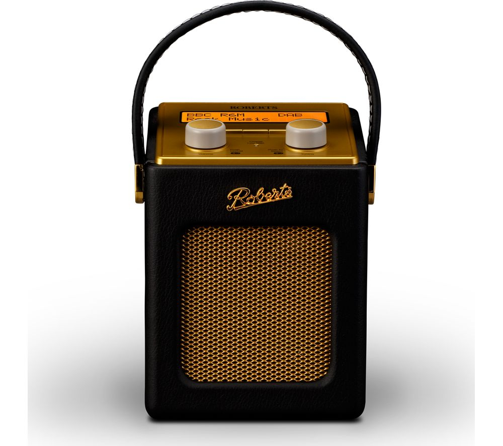 Roberts  Revival Mini Portable Dab Radio - Black & Gold, Black.