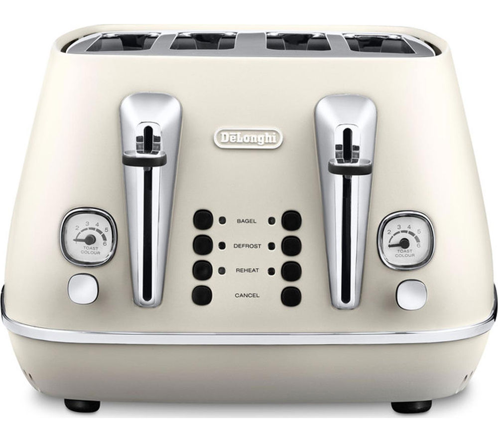 DELONGHI Distinta CTI4003.W 4-Slice Toaster - White + Distinta KBI3001.W Jug Kettle – White