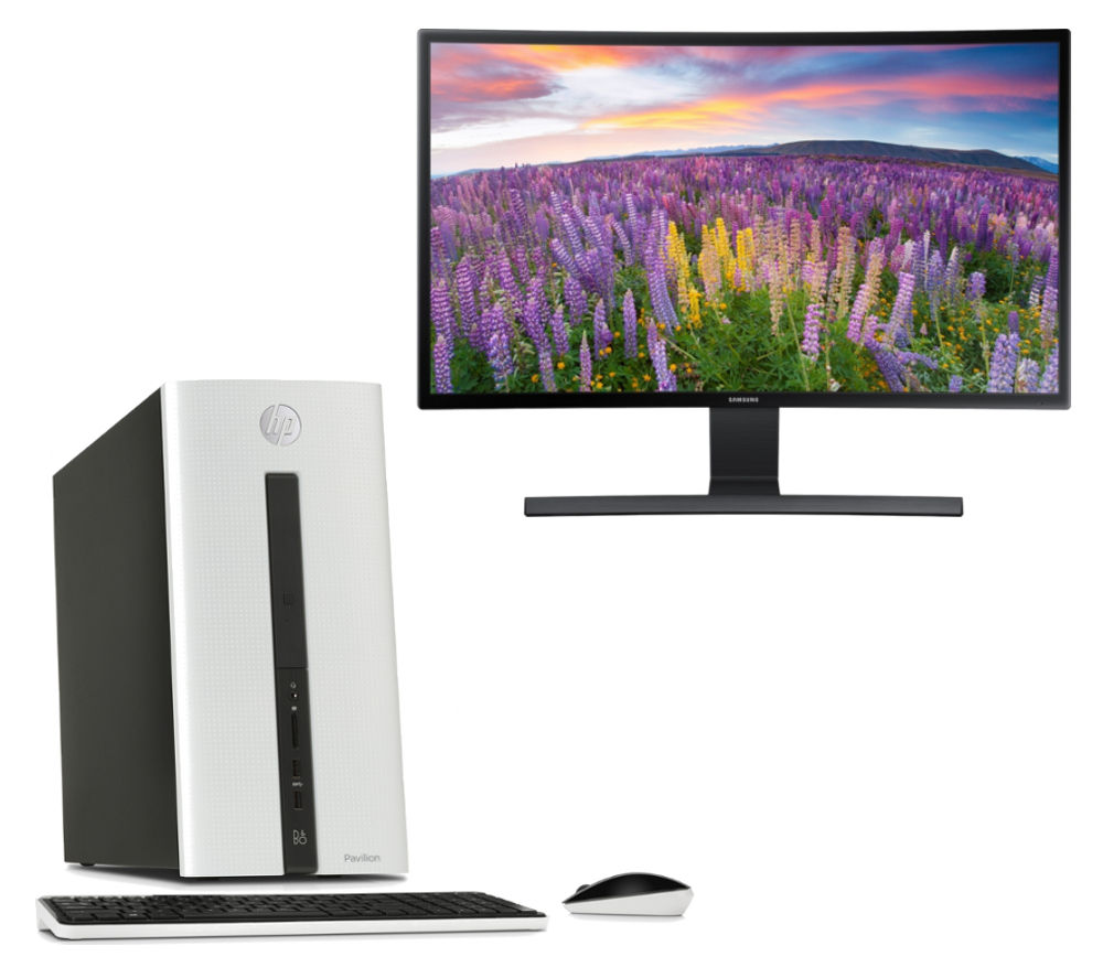 HP Pavilion 550 Desktop PC & Samsung 24 Curved Monitor Bundle